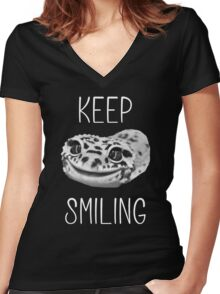 Keep Smiling Leopard Gecko (White Text) Women's Fitted V-Neck T-Shirt