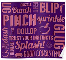 Kitchen measures typography - purple Poster