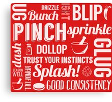 Kitchen measures typography - red Canvas Print