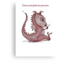 'I love you just as you are' Red Dragon, small friend Canvas Print