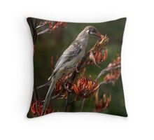 Wattle Bird feeding on flax flowers Throw Pillow