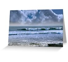 atlantic ocean storm surfing Greeting Card