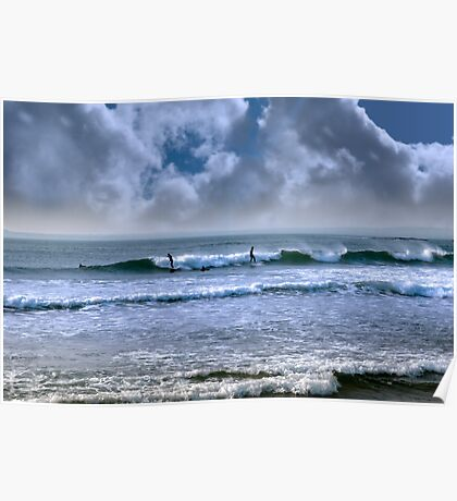 atlantic ocean storm surfing Poster