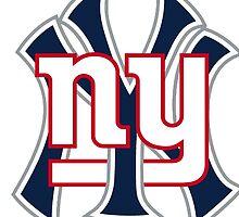 Ny Yankees Ny Giants Mashup by American Artist