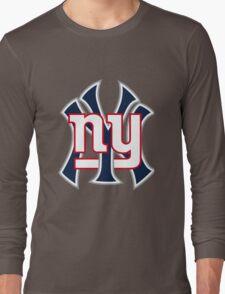 Ny Yankees Ny Giants Mashup Long Sleeve T-Shirt