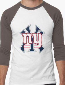 Ny Yankees Ny Giants Mashup Men's Baseball ¾ T-Shirt