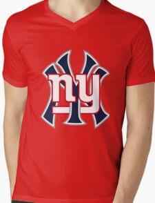 Ny Yankees Ny Giants Mashup Mens V-Neck T-Shirt