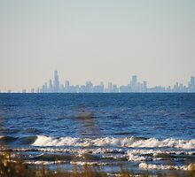 Chicago Skyline across Lake Michigan - 1 by Debbie Mueller