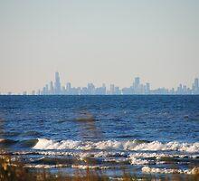 Chicago Skyline across Lake Michigan - 1 by Debbie Mueller