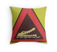 Danger ! Crocs About... Throw Pillow