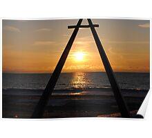 Sunset along Lake Michigan at Silver Beach - 4 Poster