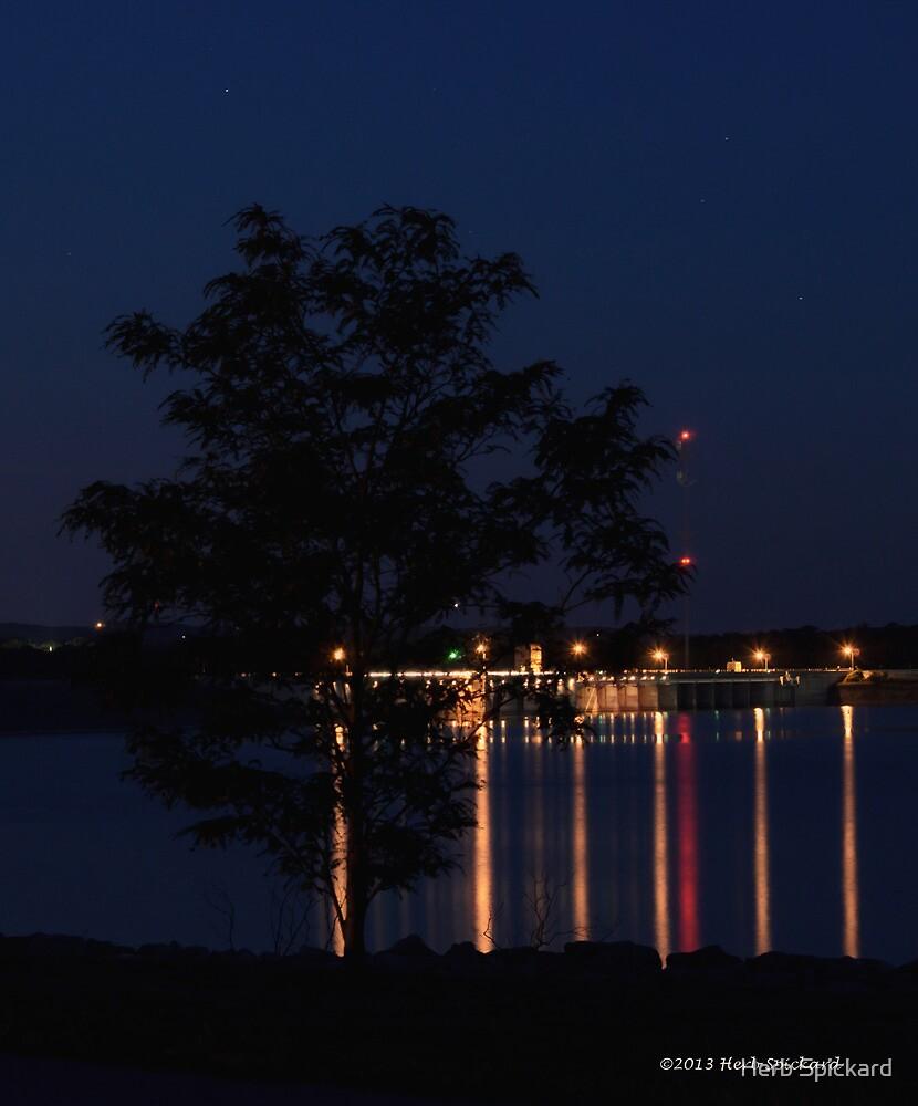 Tablerock Dam after dark by Herb Spickard