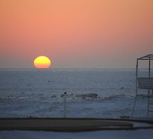 Sunset along Lake Michigan at Silver Beach - 3 by Debbie Mueller
