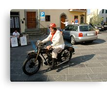Classic motorcycle and rider Canvas Print