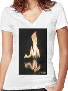 Fire on Glass - FredPereiraStudios.com_Page_17 Women's Fitted V-Neck T-Shirt