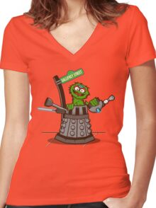 E is for EXTERMINAATE!! Women's Fitted V-Neck T-Shirt