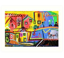 Beautiful scenery small town Art Print