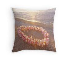 Pink Plumeria Lei on Sandy Beach Throw Pillow