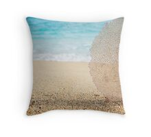 Coral element in the sand Throw Pillow