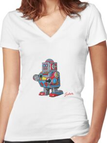 Simple robot Women's Fitted V-Neck T-Shirt