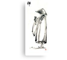 Buddhist monk with a bowl zen calligraphy 禅 original ink painting artwork Canvas Print