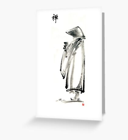 Buddhist monk with a bowl zen calligraphy 禅 original ink painting artwork Greeting Card