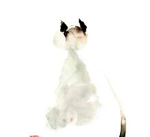 Meow curious cute kitten little cat watercolor painting funny cats by Mariusz Szmerdt