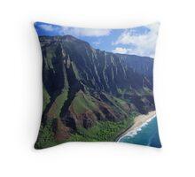 Na Pali Coastline Aerial View Throw Pillow