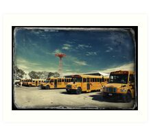 Yellow school buses photographed in Kodachrome Art Print