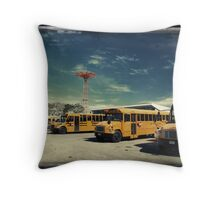 Yellow school buses photographed in Kodachrome Throw Pillow