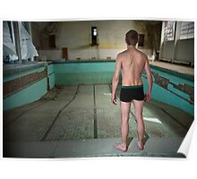 Young man in an empty abandoned swimming pool  Poster