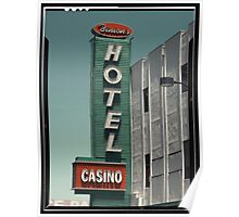 Las Vegas Hotel Neon Sign in Kodachrome Poster