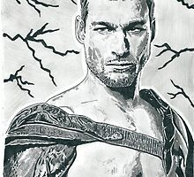 Andy Whitfield As Spartacus Pencil & Ink Sketch by chrisjh2210