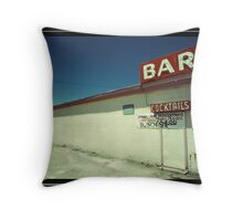 Las Vegas Bar Neon Sign in Kodachrome Throw Pillow