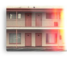 Pink Motel with swimming pool in Kodachrome Metal Print