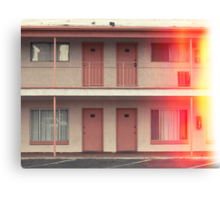 Pink Motel with swimming pool in Kodachrome Canvas Print