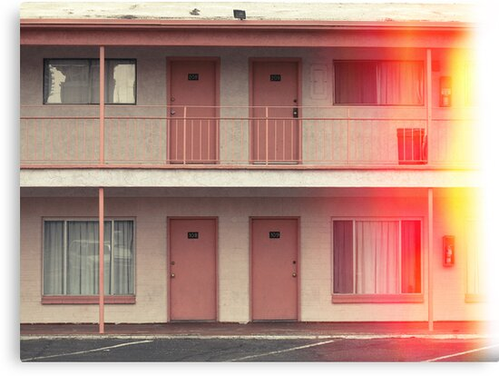 Pink Motel with swimming pool in Kodachrome by Reinvention
