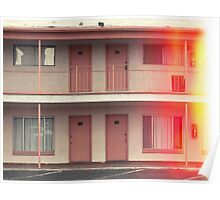 Pink Motel with swimming pool in Kodachrome Poster