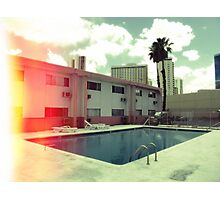 Pink Motel with swimming pool in Kodachrome Photographic Print
