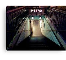 Paris Metro Entrance at night Canvas Print