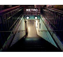 Paris Metro Entrance at night Photographic Print
