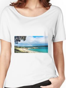 Rainbow on Beach Women's Relaxed Fit T-Shirt