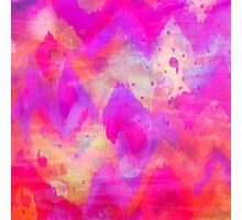 BOLD QUOTATION, Revisited - Intense Raspberry Peachy Pink Vibrant Abstract Watercolor Ikat Pattern Photographic Print