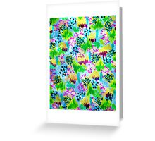 LAGOON LOVE 2 - Bright Blue Green Colorful Abstract Acrylic Waterscape Floral Pattern Nature Theme  Greeting Card