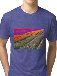 Monet Alive-colorful tulip field waves Tri-blend T-Shirt