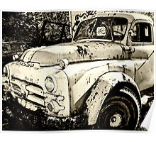 Old Truck in Black and White Poster