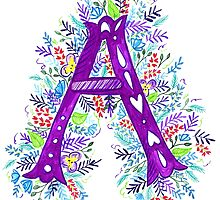 Letter A Watercolor Wildflowers by rubyandpearl