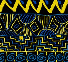 black yellow and blue tribal pattern  by Owen Luebbers