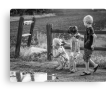 Three Kids Three Kars Canvas Print