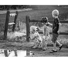Three Kids Three Kars Photographic Print